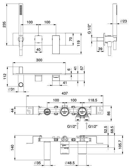 F784B+R084A Смеситель FANTINI MINT