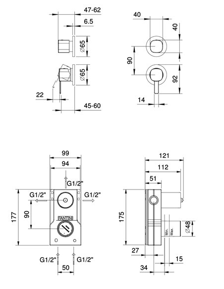 M089B+M087A Смеситель FANTINI LAMÉ