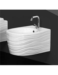 Биде подвесное CERAMICA ALA WAVE декор 90 волна/белый/PLATIN