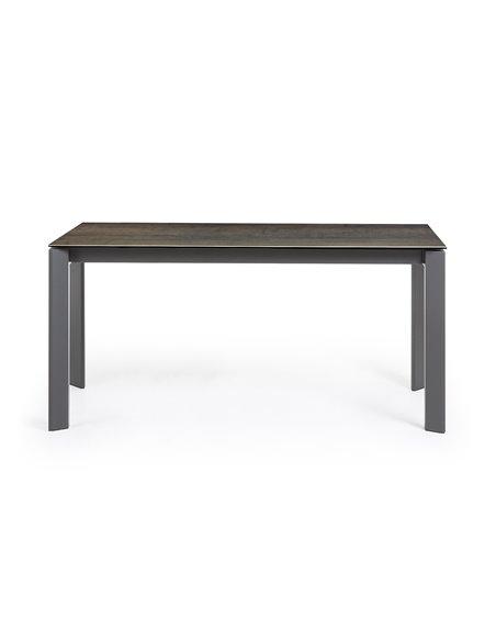 Стол Atta 160 (220) x90 антрацит, темно-коричневый, керамика
