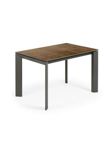 Стол Atta 120 (180) x80 антрацит, коричневый, керамика