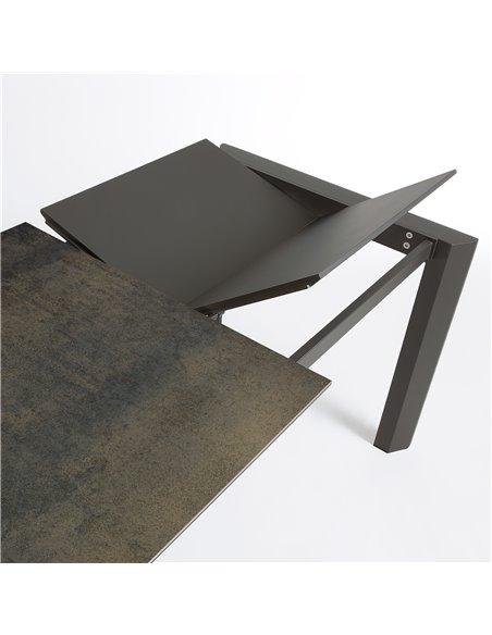 Стол Atta 140 (200) x90 антрацит, темно-коричневый, керамика