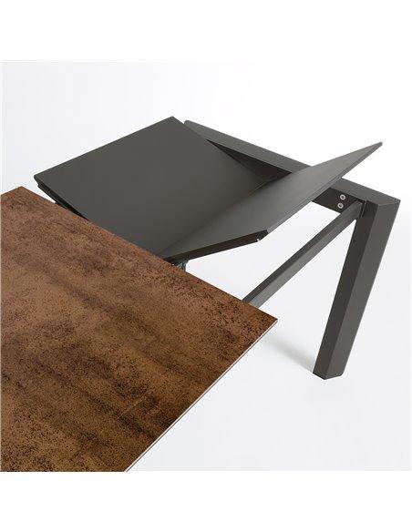 Стол Atta 140 (200) x90 антрацит, коричневый, керамика