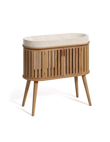 Rokia шкафчик для ванной из массива тика с умывальником на столешнице 90 x 80 см